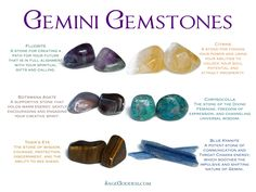 Gemini Gemstones: Fluorite, botswana agate, tiger's eye, citrine, chrysocolla, blue kyanite