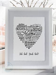 Wanddeko - Büttenpapier: Herz Mama Oma Muttertag - ein Designerstück von Sommerweg bei DaWanda