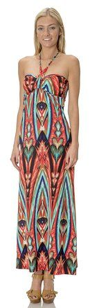 (75844R) Classic Designs Womens Beaded Halter Silky Stretch ITY Maxi Dress / Cover Up in Mint/Coral, 3X