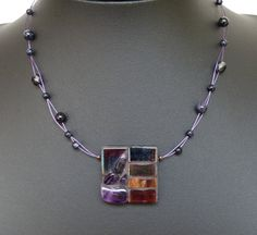 Mosaic semi precious stone and glass pendant by TerryChanceMosaics