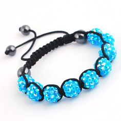 45mm Blue Clay Crystal Disco Ball Beads Cords Bracelet