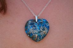 Blue stone heart necklace with sterling silver chain and sterling silver lobster clasp, Casual stone necklace with sterling silver chain