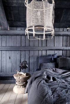 Rustic bedroom loft at the Milla-farm in Aurskog/ Norway. Home of interior stylist Camilla Berntsen.