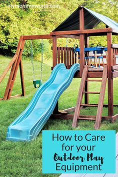 Playtime in the backyard is one way to get your kids outdoors, and having outdoor playground equipment like a swing set or climbing wall is a sure way to attract them, but you'll want to make sure it is actually safe for them to play on. Here's a few tips Fun Diy Projects For Home, Kids Outdoor Playground, Playground Ideas, Outdoor Play Equipment, Backyard Trampoline, Outdoor Toys, Outdoor Ideas, Play Houses, Cleaning Hacks