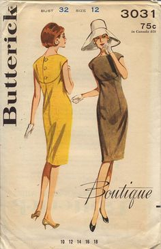 Butterick Boutique 3031 Misses 1960s Curved Yoke by CynicalGirl, $36.00
