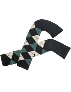 Dahlia Women's Wool Blend Leg Warmers - Argyle Pattern