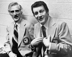 Broadcast pioneers René Lecavalier (left) and Danny Gallivan