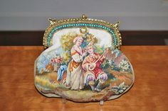 Antique  Figural Woven Aubusson Tapestry Purse Jeweled Frame