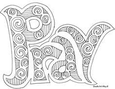 Doodle art pray - nice coloring page for older kids
