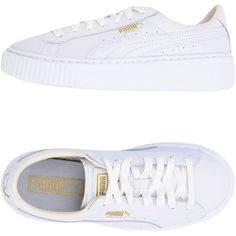 Puma Sneakers ($98) ❤ liked on Polyvore featuring shoes, sneakers, puma, white, white flat shoes, puma trainers, white shoes, white sneakers and platform sneakers