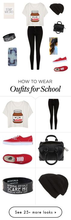"""school comfy outfit"" by fabiola-4 on Polyvore featuring Current/Elliott, Vans, Givenchy, Phase 3, women's clothing, women, female, woman, misses and juniors"