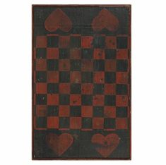 BLACK AND RED CHECKER BOARD WITH 4 LARGE RED HEARTS 1870-1880