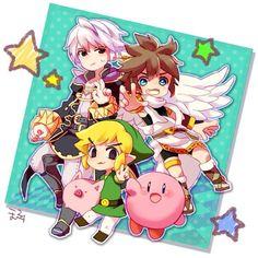 Super Smash Bros- Pit, Robin, Toon Link, and Kirby Super Smash Bros Brawl, Nintendo Super Smash Bros, Metroid, Creepypasta Anime, Chibi, Anime Rules, Kid Icarus, Nintendo Characters, Fanart