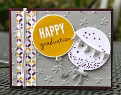 Wednesday, March 11, 2015 Krystal's Cards: Stampin' Up! Celebrate Today, Moonlight DSP, Balloon Framelits, Lucky Stars EF