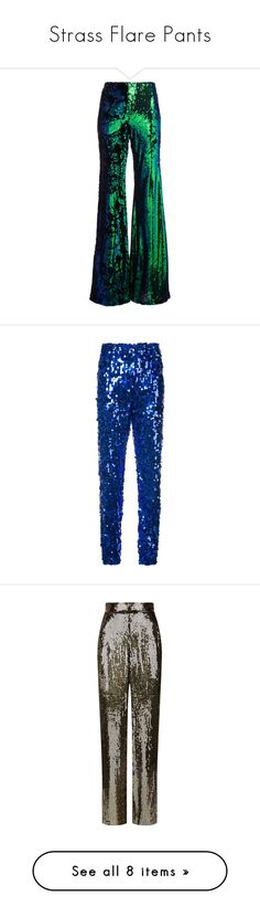 """""""Strass Flare Pants"""" by blooming-hkg ❤ liked on Polyvore featuring pants, metallic, sequin trousers, flared pants, metallic pants, sequin flare pants, flare pants, blue, high rise trousers and jogger pants"""