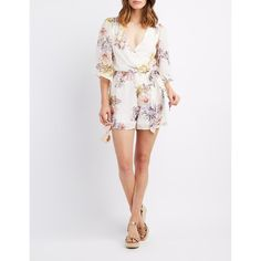 05fabfd6ea81 Charlotte Russe Floral Kimono Surplice Romper ( 14) ❤ liked on Polyvore  featuring jumpsuits
