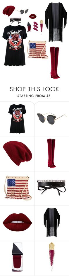 """""""Patriotic Goth"""" by iris-vela ❤ liked on Polyvore featuring Boohoo, Halogen, Aquazzura, Twig & Arrow, Fallon, Lime Crime, WithChic, GUiSHEM and Christian Louboutin"""