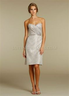 Picture of Strapless Lace Sheath Dress, Short Sweetheart Bridesmaid Dresses