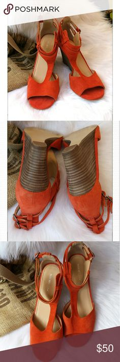 Maraisusa Orange Suede sandals Wooden heals with orange suede fabric and double buckles. Some wear but in good condition.  A true size 9. The heel is 3 inches. Maraisusa  Shoes Sandals