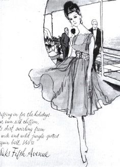 Saks ad for a chiffon cocktail dress with leopard spotted belt.