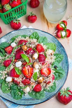 // Strawberry Quinoa and Spinach Caprese Salad