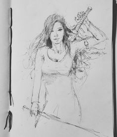 Daily sketch #26 #arthabit #art #drawing #doodle #sketch #pencil #sketchbook #dailysketch #ericpaints #illustrator #illustration #conceptart #concept #character #characterdesign #girl #sword #pentel