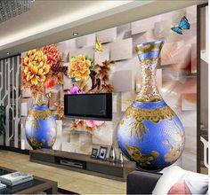 Tapete Tapeten 3D benutzerdefinierten stereoskopische 3D farbe pfingstrose geschnitzten 3D wandbild wand papier papel de parede wandsticker 8876
