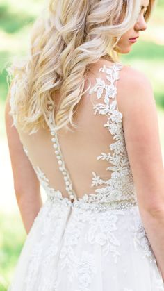 Soft illusion adds a touch of sexy to this romantic wedding gown. Avery by Maggie Sottero / Styled Shoot by Awe Captures Photography / Bridal Hair / Statement Back / Lace Wedding Dress