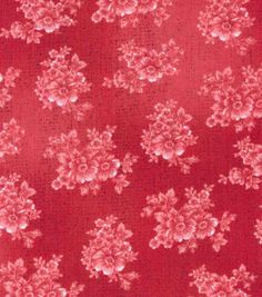 Buttercream™ Poppy Collection Cotton Fabric-Tonal Floral Red