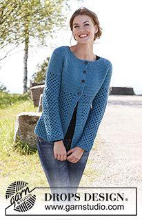"""Chantal - DROPS kabátek s kruhovým sedlem háčkovaný z příze """"Karisma"""". - Free pattern by DROPS Design"""