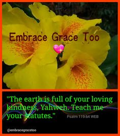 """""""The earth is full of your loving kindness, Yahweh..."""" click for more...  Embrace Grace Too 💖"""