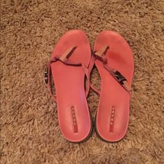PRADA Flip Flops Pink/peach Prada flip flops, they are authentic but pretty worn down. I will try to wash and clean to best of my ability before shipping. They don't fit me anymore :/ Prada Shoes Sandals