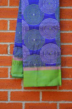 Dark Blue Kuppadam Saree with Green/White Dotted Swirls all over and Green/Zari Border - Aliveni  - 1