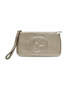Great night out bag ;) Soho Metallic Leather Wristlet, Gunmetal by Gucci at Neiman Marcus.