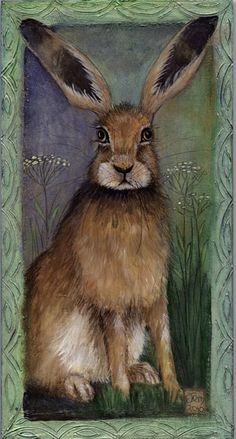 Jemima Jameson: Gallery I like the look or expression and the colors of this Hare. Jack Rabbit, Rabbit Art, Lapin Art, Bunny Art, Arte Popular, Painting Inspiration, Pet Birds, Folk Art, Cute Animals