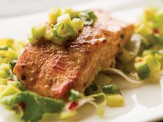 Soy Miso Glazed Salmon with Diakon Salsa: A healthy addition to this dish is the fermented bean paste, otherwise known as miso. It's available in different strengths and colours. We suggest the light miso, as it's less harsh and doesn't overpower the salmon. TIP: you can use red radishes instead of Daikon! #aromatics #bestsalmon