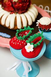 Ravelry: Strawberry Baby Booties pattern by Furls Crochet
