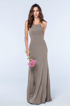 V Neck Halter Gown with Sash Style VW360214   Bridesmaid dress     Margot