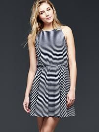 Sleeveless stripe fit & flare dress