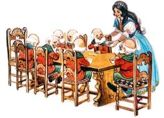 """Snow White: """"And any of you who doesn't eat his greens will go across my knee before he goes to bed!"""" Happy to Grumpy: """"That sounds good to me, Grump,"""" Snow White Art, Fariy Tale, Childhood Stories, Sounds Good To Me, Vintage Fairies, Fairytale Art, Art Base, Disney Art, Apples"""