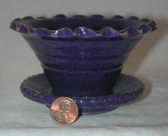 Rare 1938 Cobalt Blue Colored Glazed Redware Small Flower Pot By Isaac Stahl Powder Valley, Pennsylvania