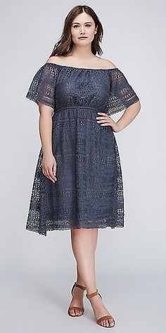 9b9eee6dc28 Plus Size Off-the-Shoulder Fit   Flare Dress
