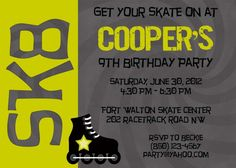 Splendid Roller Skating Party Invitation Designs