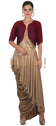 Gold Lycra Dress and Maroon Tasseled Silk Jacket Only on Kalki