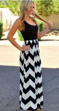 8062bff94e0b Cute Black and White Chevron long maxi dress - Pool