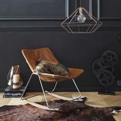 Leather rocking chair in brown