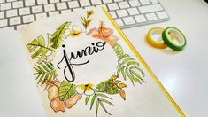 Bullet Journal June July summer cover month tropical watercolor