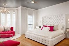 Modern Glam Bedroom With White Tufted Bed