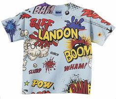 Boom Pow Comic Shirt - Toddler Boys Superhero Top, Personalized Childrens Clothing $24.95
