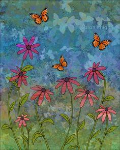 butterfly garden, by Sarah Knight 8X10 inch open edition print | SunshineSight - Print on ArtFire